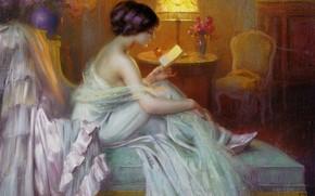 девушка, вечер, лампа, чтение
