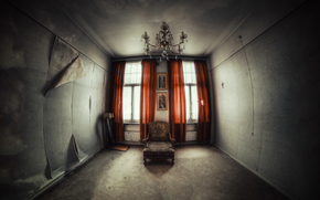 room, abandonment, chair, wallpaper, window, Curtains