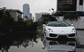 Lamborghini, Gallardo, front view, white, Cabriolet, sky, lightning, Lamborghini