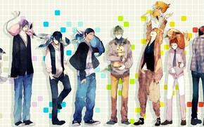 арт, аниме, баскетбол куроко, парни, звери, кеды, джинсы, свитер, галстук, рубашка, кулон