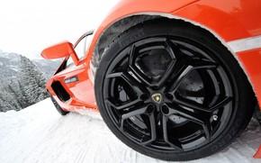 sports car, foreshortening, wheel, disk, snow, Lamborghini