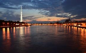 embankment, night, lights, St. Petersburg, Neva