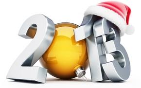 обои, новый, год, цифры, игрушка, шапочка, блеск, Новый год
