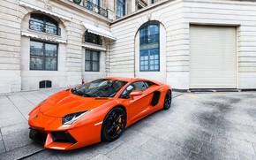 Lamborghini, aventador, side view, orange, building, window, Lamborghini
