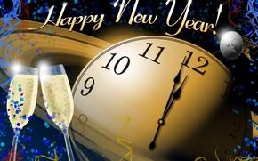 Capodanno, vacanza, guardare, calici, Champagne, Capodanno