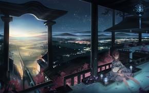 Art, city, Girls, water, recreation, fan, sakura, sunset, evening
