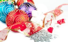 Christmas decorations, tape, Balls, snowflake, New Year