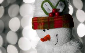 игрушка, снеговик, макро