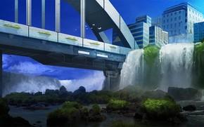Art, bridge, city, thicket, stones, waterfalls, Birds