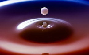 вода, капля, застывший, момент, цвета, макро