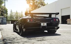 ламборгини, диабло, гтр, черный, солнце, Lamborghini
