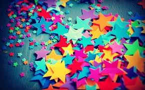 звёздочки, большие, маленькие, цветные