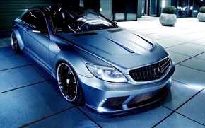 Tuning, Mercedes, night, Car, mercedes