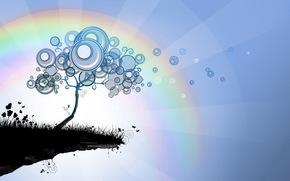 дерево, круги, абстракции, лучи, трава, радуга