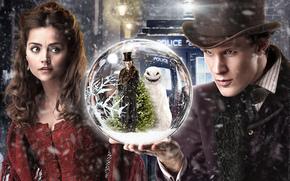 Doctor Who, ball, snow, Street, man, snowman, Tree, girl, hat, booth, lights