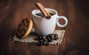 cup, coffee, drink, coffee beans, cookies, cinnamon