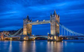 Reino Unido, Inglaterra, Londres, capital, ro, Thames, Puente de la Torre, iluminacin, noche, azul, cielo