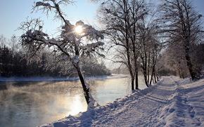 Winter, river, road