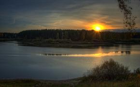 bosque, ro, por la noche. sol, puesta del sol, otoo