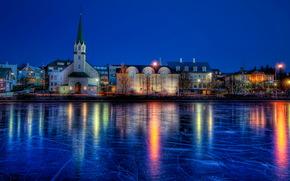 Islanda, Fiume, inverno, Reykjavik, notte, hdr