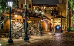 Stati Uniti d'America, Disneyland, California, strada, semaforo, hdr, notte