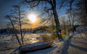 maana, invierno, carretera, barco, casa
