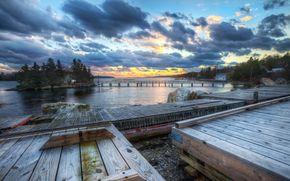 river, wharf, bridges, island, sky