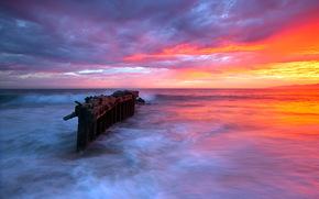 sunset, sea, support, nature, landscape
