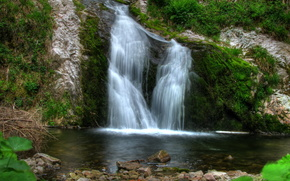 waterfall, Germany, wasserfall allerheiligen, rock, stones, moss, greens, water