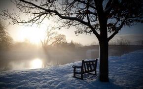 mattina, inverno, fiume, panchina, paesaggio