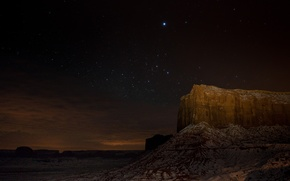 canyon, night, Stars, rock, desert