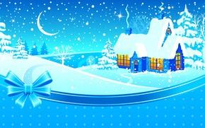 loggia, finestre, comfort, fumare, alberi, colline, mese, neve, inverno, nastro, arco, Stella, Capodanno