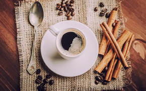 saucer, cup, coffee, drink, spoon, coffee beans, cinnamon, napkin
