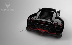 black car, sports car, rear lights, Other brands