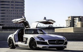 Mercedes Benz, SLS AMG, plata, techo, estacionamiento, edificio, Mercedes
