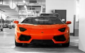 Lamborghini, Aventador, naranja, frente, estacionamiento, pared, puerta, Lamborghini