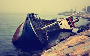 navio, Deitado, velho, enferrujado, costa, mar, gua