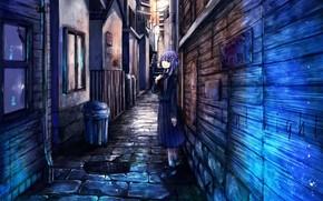 арт, переулок, девушка, город, стены, улица