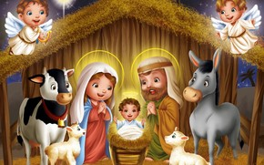 Art, Christmas, cradle, child, Angels, cow, ass, lamb, Lamb, Sheep, hay, night, star, New Year