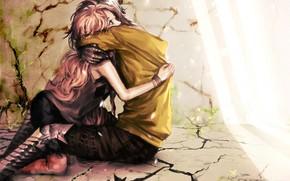 Art, girl, guy, hug, love, Wall, floor, crack, light, Plants
