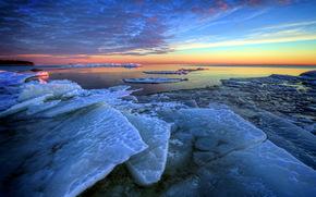 tramonto, mare, ghiaccio, paesaggio