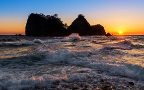 sunset, sea, rocks, landscape