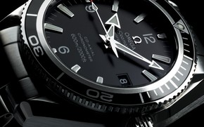 часы, omega, planet ocean, черно белая
