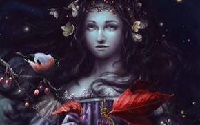 Art, girl, branch, bullfinch, Flowers, leaves, Berries, puansetiya