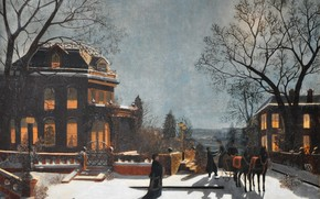 Manhattan, Hudson, Winter, Mansion, cottage
