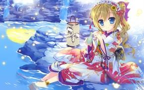арт, девочка, вода, камень, светлячки, фонарь, кимоно, подсолнухи, склянка