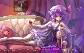 picture, girl, daemon, Lying, wine, sofa