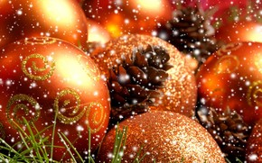 Christmas decorations, needles, Balls, Cones, New Year