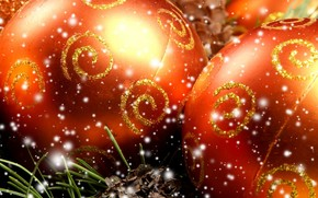 Christmas decorations, Balls, needles, snow, New Year