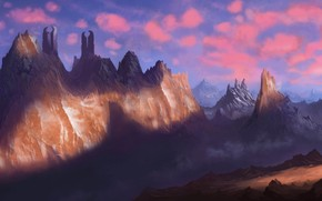 Arte, paesaggio, Montagne, viandante, guerriero, uomo, spada, torre